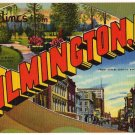 WILMINGTON, North Carolina large letter linen postcard Teich