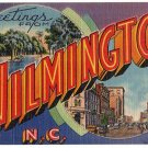 WILMINGTON, North Carolina large letter linen postcard Tichnor