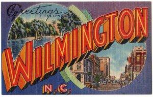 WILMINGTON, North Carolina large letter linen postcard Tichnor