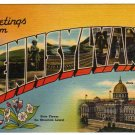 PENNSYLVANIA large letter linen postcard Tichnor