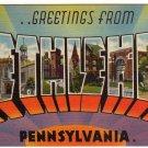BETHLEHEM, Pennsylvania large letter linen postcard Tichnor