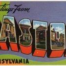 EASTON, Pennsylvania large letter linen postcard Tichnor