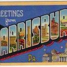 HARRISBURG, Pennsylvania large letter linen postcard Teich