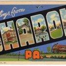 SHARON, Pennsylvania large letter linen postcard Curt Teich