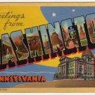WASHINGTON, Pennsylvania large letter linen postcard Curt Teich