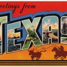 TEXAS large letter linen postcard Colourpicture