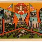 TEXAS large letter linen postcard Metropolitan