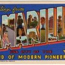AMARILLO, Texas large letter linen postcard Teich