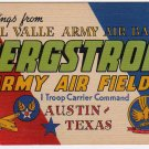 BERGSTROM ARMY AIR FIELD, Texas large letter linen postcard Colourpicture