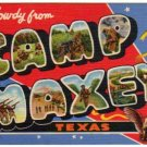 CAMP MAXEY, Texas large letter linen postcard Teich