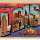 EL PASO, Texas large letter linen postcard Teich