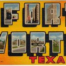 FORT WORTH, Texas large letter linen postcard Teich