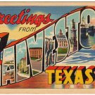 GALVESTON, Texas large letter linen postcard Teich