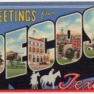 PECOS, Texas large letter linen postcard Teich