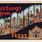 SAN ANTONIO, Texas large letter linen postcard Teich