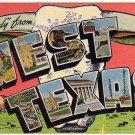 WEST TEXAS large letter linen postcard Kropp