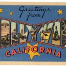 HOLLYWOOD, California large letter linen postcard Tichnor