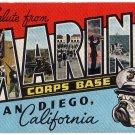MARINE CORPS BASE, California large letter linen postcard Kropp