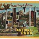 YOSEMITE NATIONAL PARK, California large letter linen postcard Teich