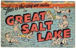 GREAT SALT LAKE, Utah large letter linen postcard Kropp