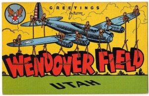 WENDOVER FIELD, Utah large letter linen postcard Kropp
