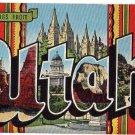 UTAH large letter linen postcard Kropp