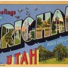 BRIGHAM, Utah large letter linen postcard Teich
