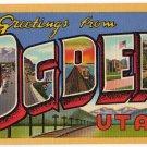 OGDEN, Utah large letter linen postcard Teich
