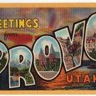 PROVO, Utah large letter linen postcard Teich