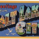 SALT LAKE CITY, Utah large letter linen postcard Teich