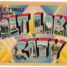 SALT LAKE CITY, Utah large letter linen postcard Tichnor