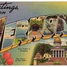 VERMONT large letter linen postcard Tichnor