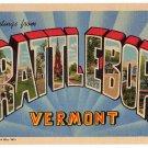 BRATTLEBORO, Vermont large letter linen postcard Teich