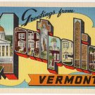 MONTPELIER, Vermont large letter linen postcard Eastern Photo