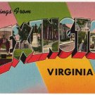 LEXINGTON, Virginia large letter linen postcard Tichnor