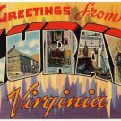 LURAY, Virginia large letter linen postcard Tichnor