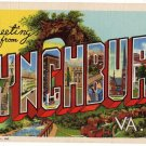 LYNCHBURG, Virginia large letter linen postcard Teich