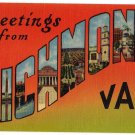 RICHMOND, Virginia large letter linen postcard Colourpicture