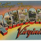 RICHMOND, Virginia large letter linen postcard Tichnor