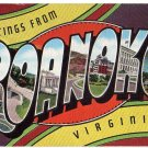 ROANOKE, Virginia large letter linen postcard Kropp
