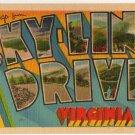 SKYLINE DRIVE, Virginia large letter linen postcard Metropolitan