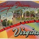HARRISONBURG, Virginia large letter linen postcard Tichnor