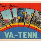 BRISTOL, Virginia large letter linen postcard Eastern Photo