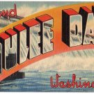 GRAND COULEE DAM, Washington large letter linen postcard Tichnor