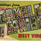 BERKELEY SPRINGS, West Virginia large letter linen postcard Teich