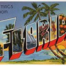 FLORIDA large letter linen postcard Tichnor