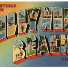 HOLLYWOOD BEACH, Florida large letter linen postcard Tichnor