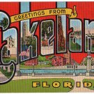 LAKELAND, Florida large letter linen postcard Kropp