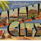 PANAMA CITY, Florida large letter linen postcard Teich
