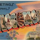WISCONSIN large letter linen postcard Tichnor